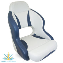 Load image into Gallery viewer, Compact Bucket Style Helmsman's Seat - Dark Blue/Light Grey