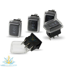 Load image into Gallery viewer, 12v Compact Rectangular Three-Way On/Off/On Rocker Switches (5 Pack)
