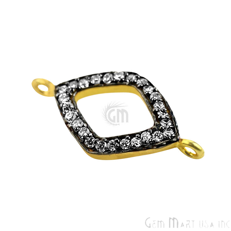 'Marquise' Shape Cubic Zircon Pave Gold Vermeil Charm for Bracelet Pendants & Necklace
