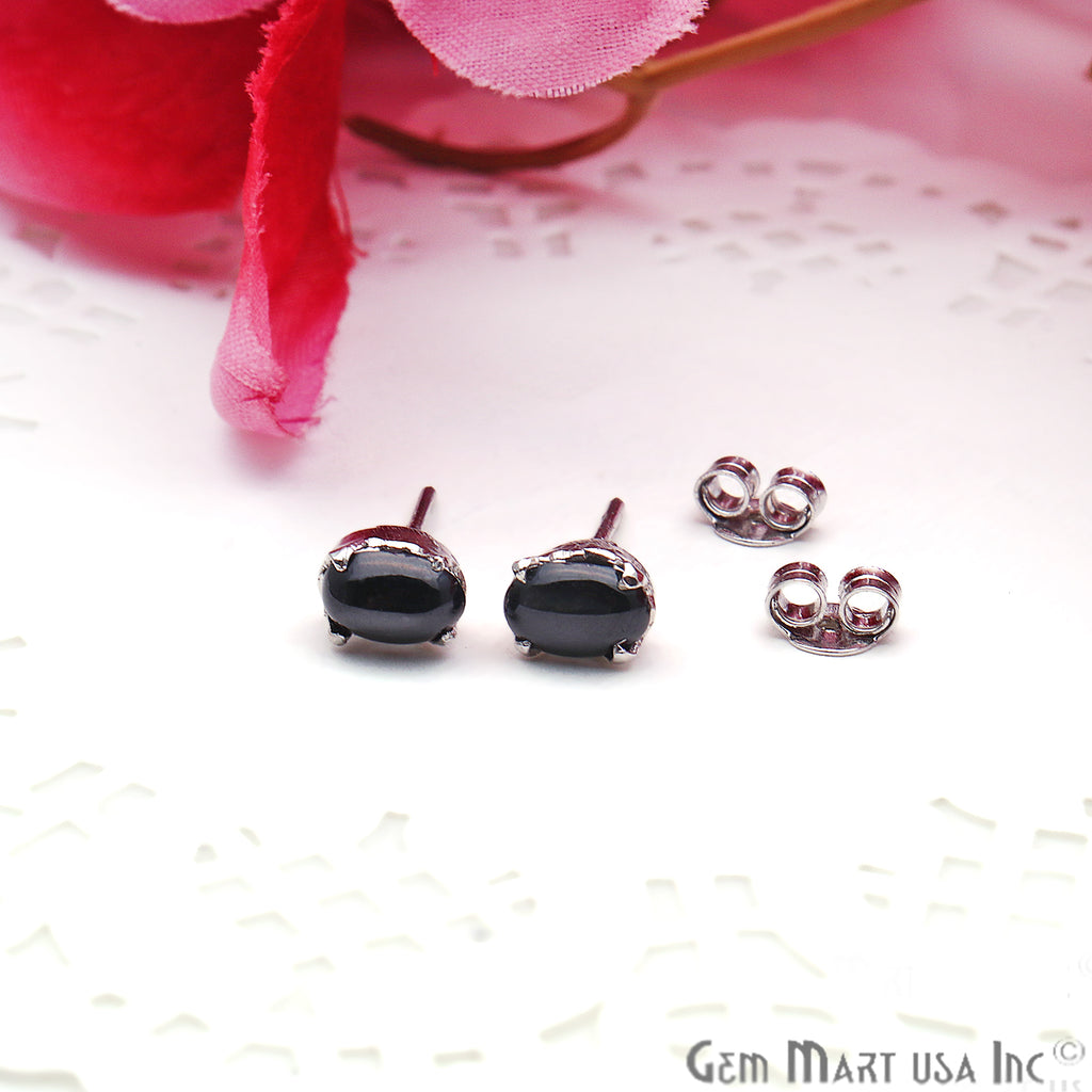 Black Sapphire 6x4mm Sterling Silver Oval Shape Prong Setting Stud Earring