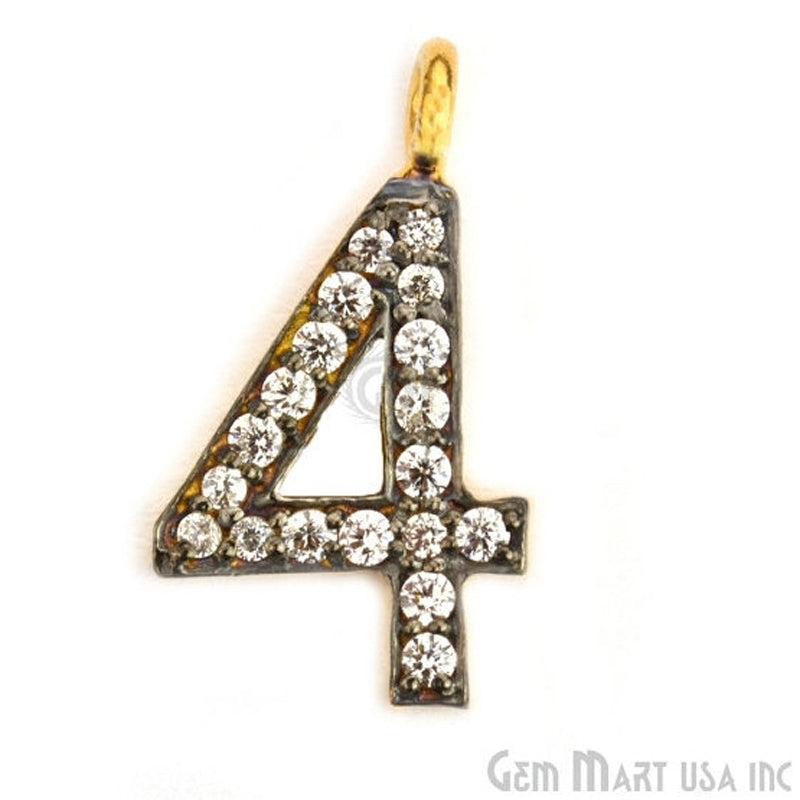 '4' Numbering CZ Pave Gold Vermeil Charm for Bracelet & Pendants