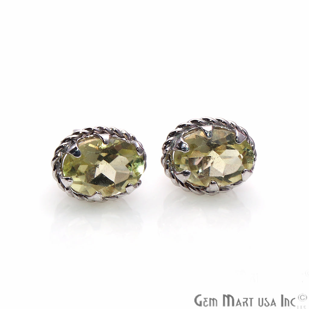 Lemon Topaz 7x5mm Sterling Silver Oval Shape Prong Setting Stud Earring