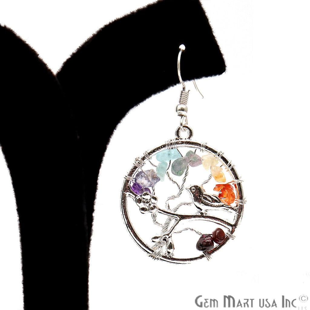 Tree Of Life 7 Chakra 33x29mm Round Silver Plated Hook Earrings