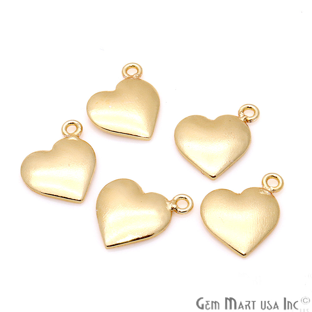 5pc Lot Heart Finding 15x11mm Gold Plated Jewelry Making Charm
