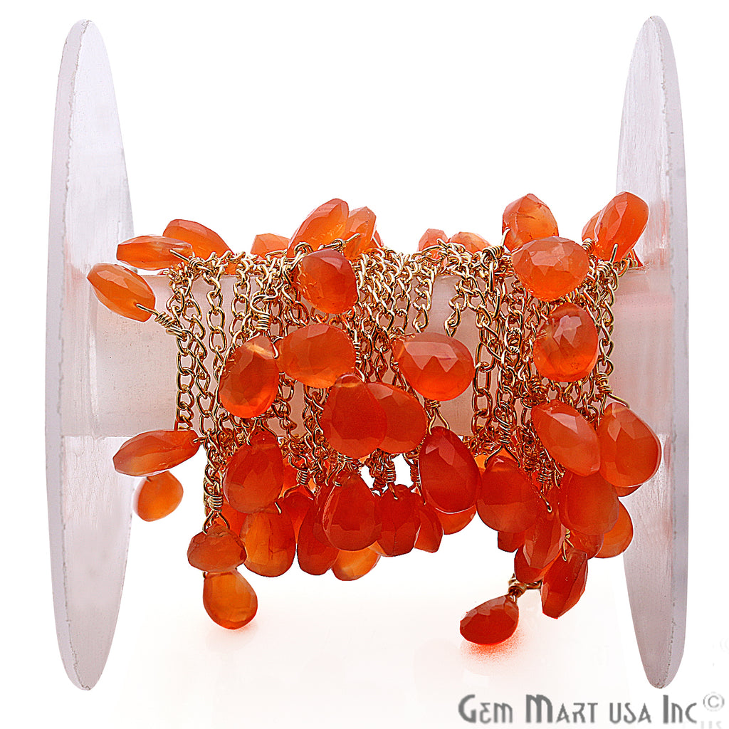 Carnelian 10x7mm Faceted Dangle Drop Beaded Gold Plated Wire Wrapped Anglican Rosary Chain