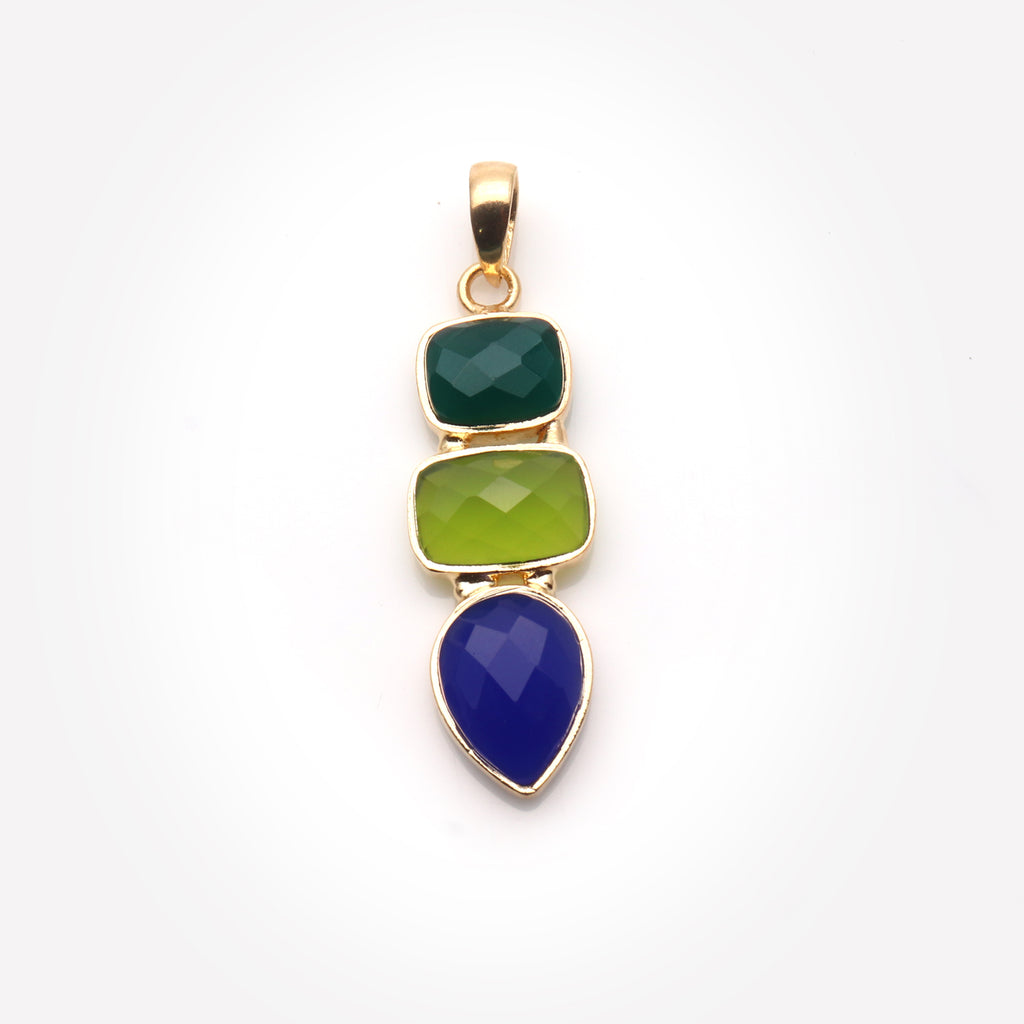DIY Multi Gemstone 41x13mm Gold Plated Necklaces Pendant