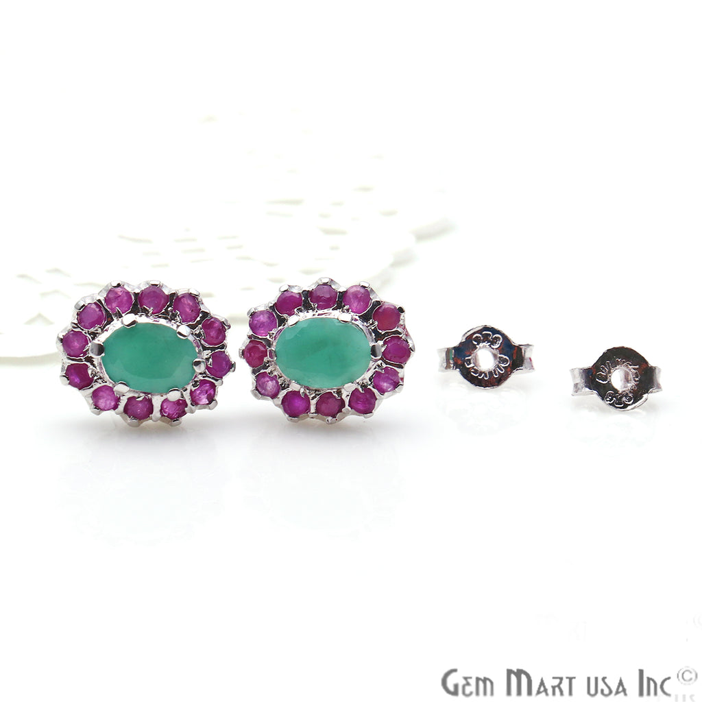 Emerald With Ruby 10x12mm Sterling Silver Oval Shape Stud Earring