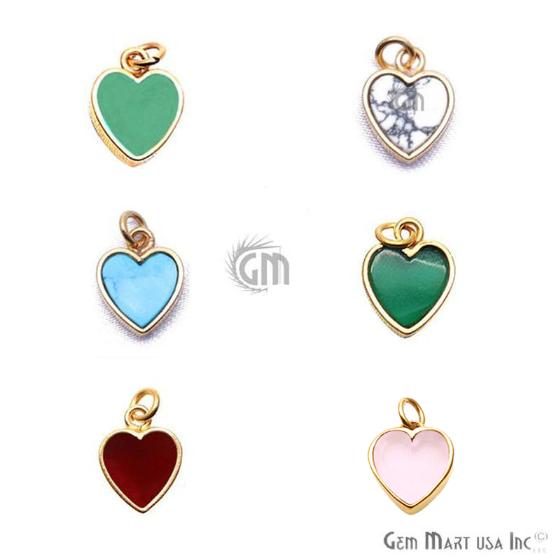 DIY Gemstone Heart 12mm Gold Plated Gemstone Pendant (Pick Gemstone)