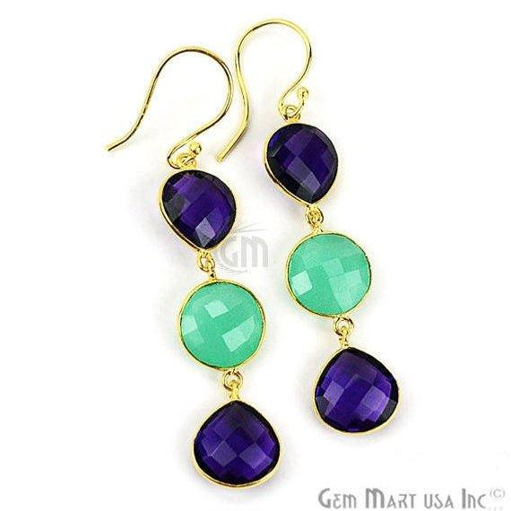 Gold Plated Round & Pears Shape 65x12mm Gemstone Dangle Hook Earring Choose Your Style (90093)