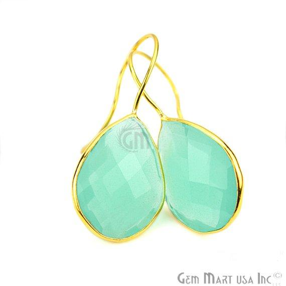 Pear Shape 15x20mm Gold Plated Gemstone Hook Earrings (Pick your Gemstone) (90017-1)