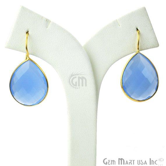 Gold Plated Pears Shape 21x26mm Gemstone Dangle Hook Earring Choose Your Style (90010-1)