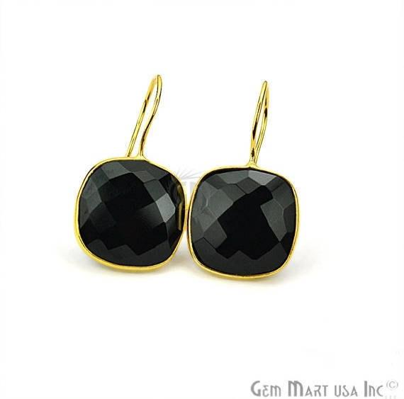Cushion Shape 31x17mm Gold Plated Gemstone Hook Earrings (Pick your Gemstone) (90110-1)