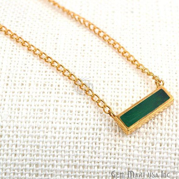 Gemstone Bar Gold Pendant
