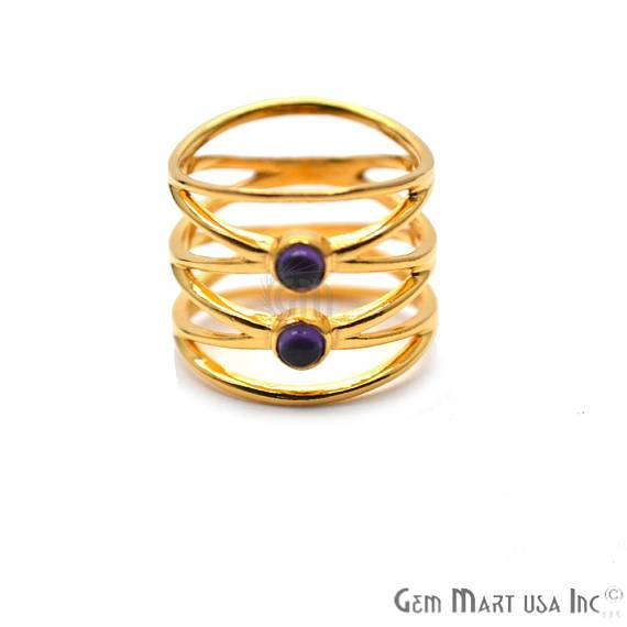 Double Gemstone Stackable Wedding Band Ring (12061)