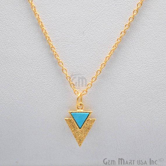 turquoise triangle gold pendant