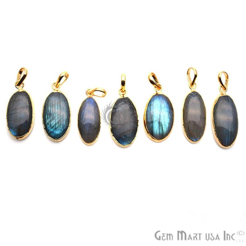 Labradorite Cabochon Oval Gold Electroplated Pendant