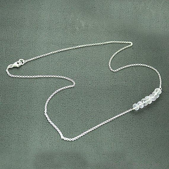 Faceted Gemstone Bead Charm 18 Inch Long Necklace Chain (Pick your Gemstone)