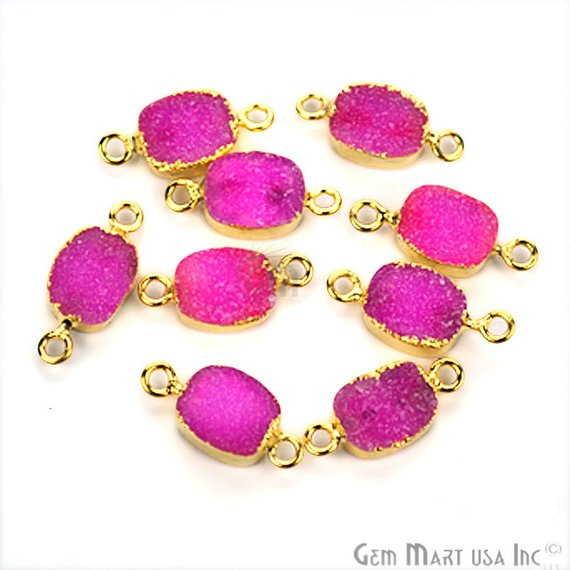 Gold Electroplated Druzy 8x10mm Octagon Shape Druzy Gemstone Connector (Pick Your Color, Bail)