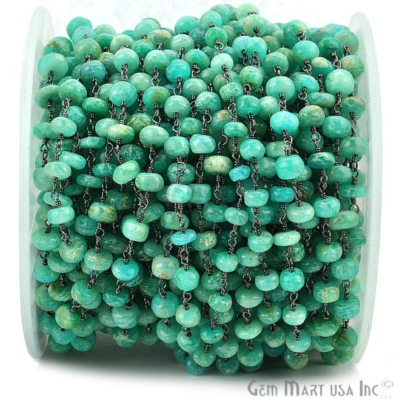 Chrysocolla 5-6mm Beads Chain, Black Plated wire wrapped Rosary Chain, Jewelry Making Supplies (BPCH-30046)
