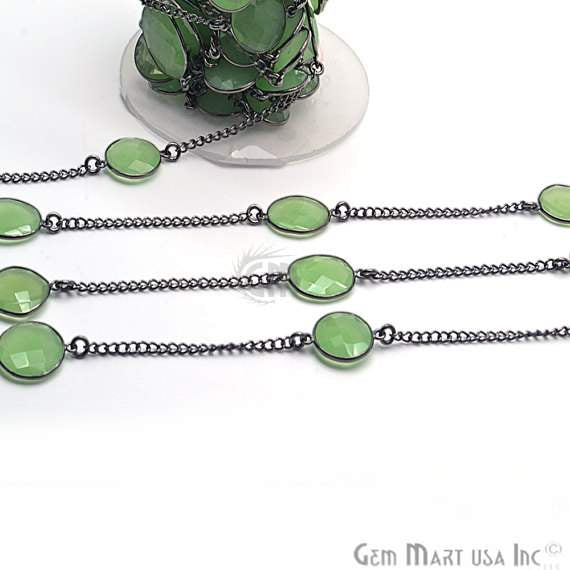 Green chalcedony 10-15mm, Black Plated Bezel Connector Link Rosary Chain, Jewelry Making Supplies (BPGC-20002)