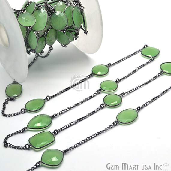 Green chalcedony 15mm, Black Plated Bezel Connector Link Rosary Chain, Jewelry Making Supplies (BPGC-20003)