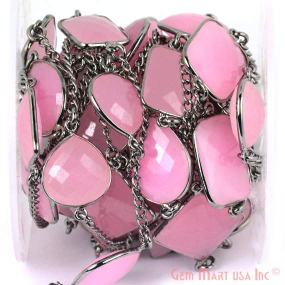 Rose Chalcedony 10-15mm, Black Plated Bezel Connector Link Rosary Chain, Jewelry Making Supplies (BPRC-20002)