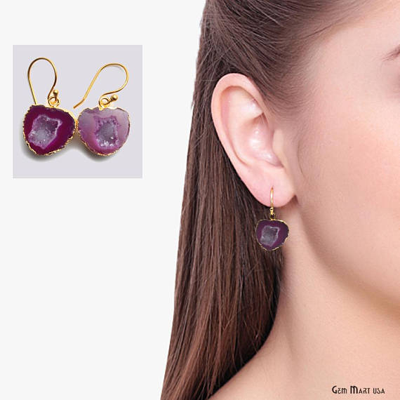 Geode Druzy Dangle Earrings, 22k Gold Electroplated Hook Earrings (DPER-90343)