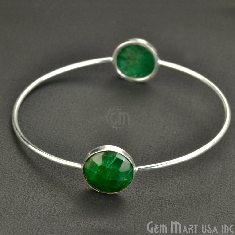 Natural Emerald 14mm Round Adjustable Interlock Silver Plated Bangle Bracelet