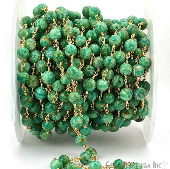 Chrysocolla 7-8mm Beads Chain, Gold Plated wire wrapped Rosary Chain, Jewelry Making Supplies (GPCH-30035)