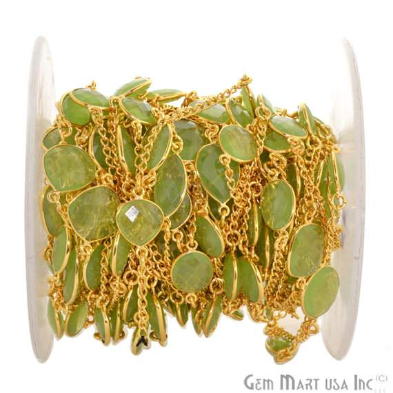 Green Chalcedony 10-15mm Connector Chain, Gold Plated Bezel Connector Link Rosary Chain, Jewelry Making Supplies (GPGC-20002)