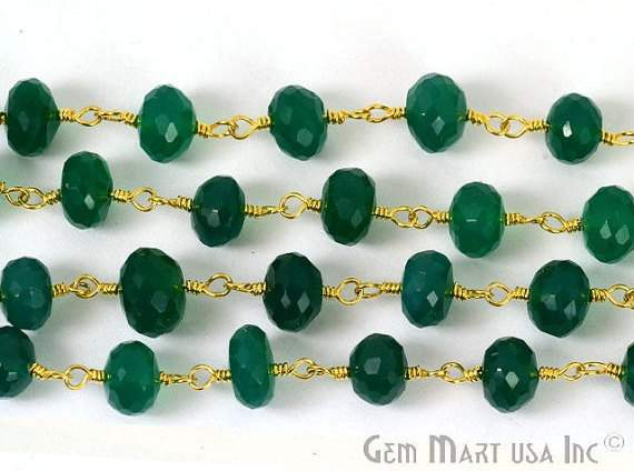 Green onyx 7mm Beads Chain, Gold Plated wire wrapped Rosary Chain, Jewelry Making Supplies (GPGO-30004)