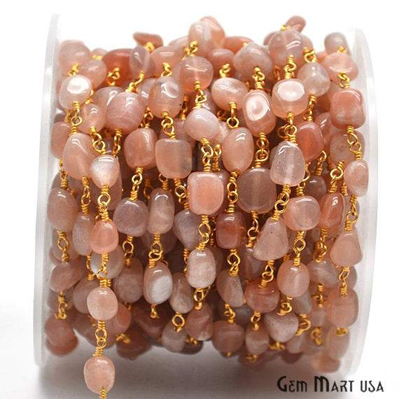 Moonstone Freeform Beads Chain, Gold Plated wire wrapped Rosary Chain, Jewelry Making Supplies (GPMO-30044)