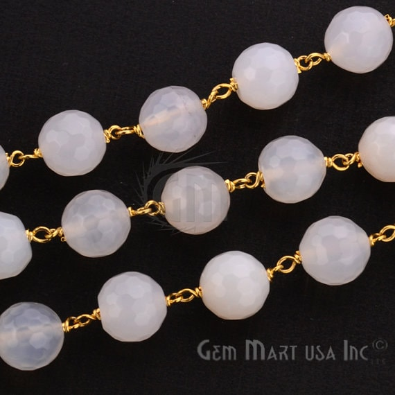 White chalcedony 9-10mm Beads Chain, Gold Plated wire wrapped Rosary Chain, Jewelry Making Supplies (GPWC-30037)