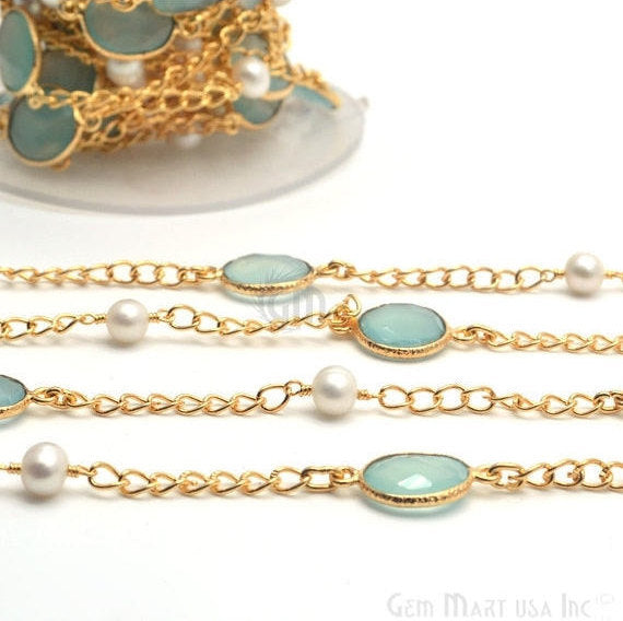 Aqua chalcedony with Pearl 10mm Connector Chain, Gold Plated Bezel Connector Link Rosary Chain, Jewelry Making Supplies (GPQP-20029)