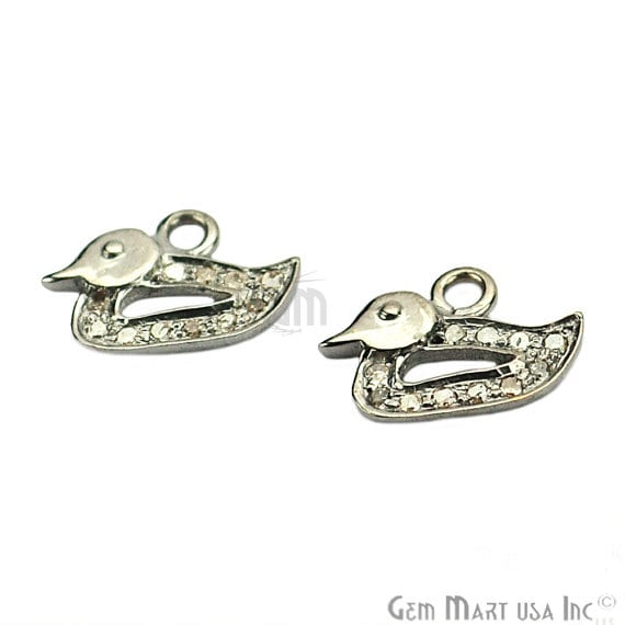 Duck Shape Diamond 12x9mm Charms Pave Single Bail Sterling Silver Charm for Bracelet & Pendants
