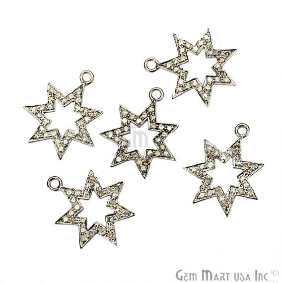 Star Shape Diamond Charms Pendant, 19x16mm 925 Sterling Silver Pave Charms Pendant