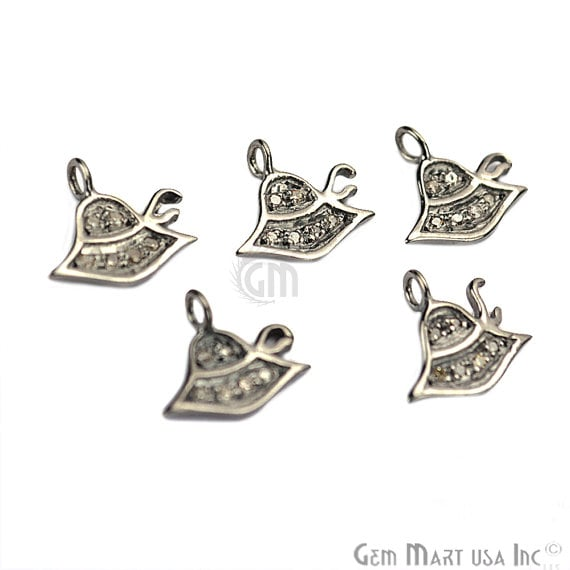 Hat Shape Diamond Charms Pendant, 10mm 925 Sterling Silver Pave Charms Pendant