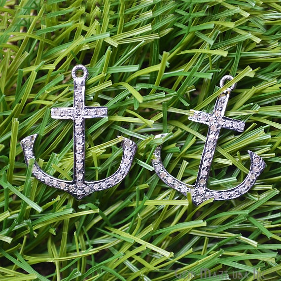 Nautical Pave Diamond Charm Pendant, Sterling Silver Necklace Pendant
