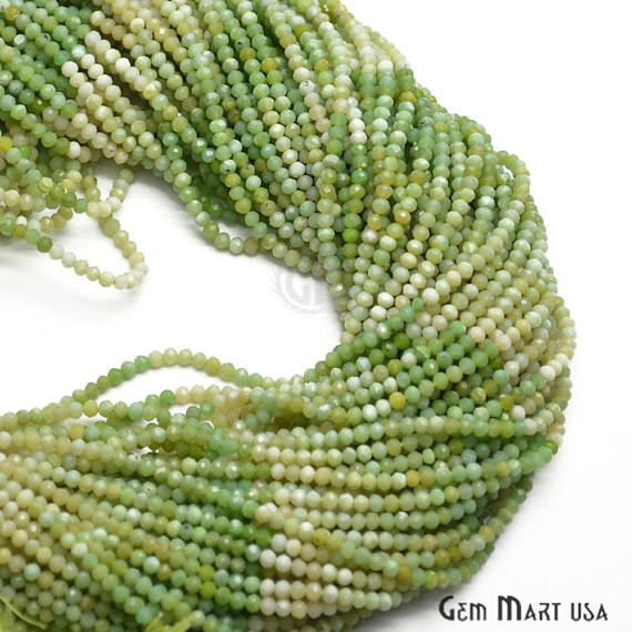 Green Opal Faceted Gemstones Rondelle Beads, Jewelry Making Supply Beads (RLRO-70001)