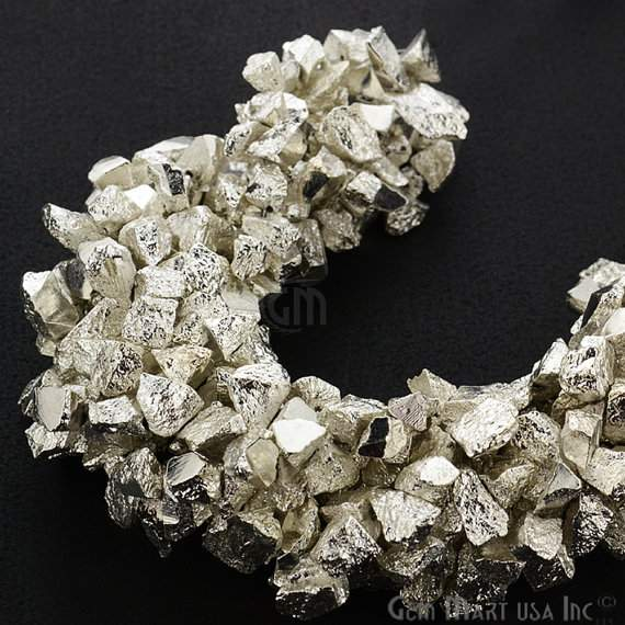 1 Strand Silver Color Pyrite Aaa High Quality Rough Nugget Chips 10Inch length Jewelry Making Supply (RLSP-70011)