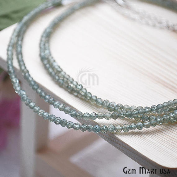 Green Tourmaline Bead Chain, Silver Plated Jewelry Making Necklace Chain