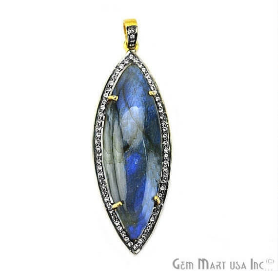 Labradorite Cabochon with White Topaz Pave Diamond Setting 56x20mm Gold Vermeil Gemstone Necklace Pendant