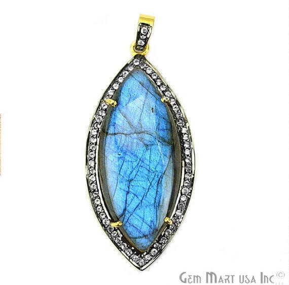 Labradorite Cabochon with White Topaz Pave Diamond Setting 47x22mm Gold Vermeil Gemstone Necklace Pendant