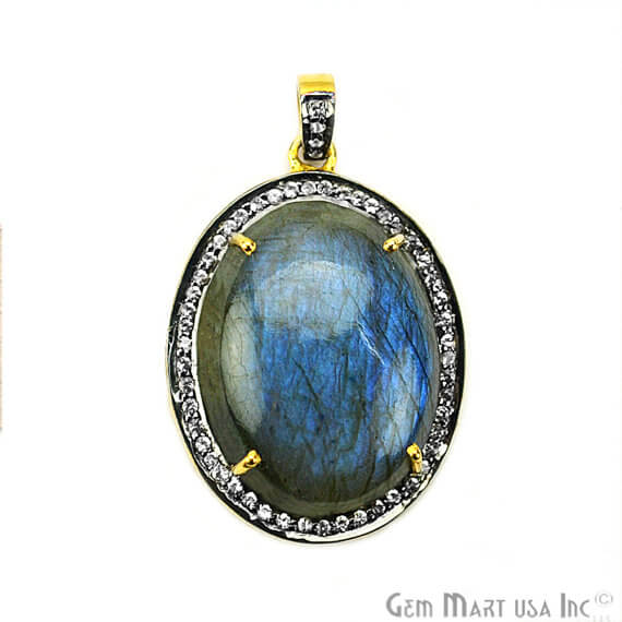 Labradorite Cabochon with White Topaz Pave Diamond Setting 35x25mm Gold Vermeil Gemstone Necklace Pendant