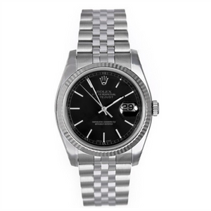 Rolex Steel and White Gold Datejust #16234 Black Dial