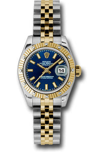 Rolex steel and gold datejust 26mm, blue stick dial, fluted diamond bezel, jubilee bracelet, model # 179313 bsj