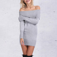 Load image into Gallery viewer, KNITTED BARDOT MINI DRESS