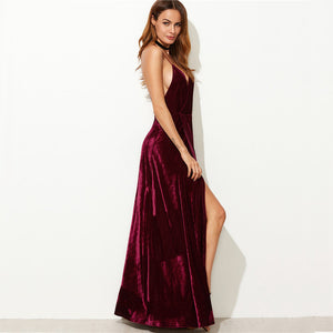IN WINE THERE'S TRUTH VELVET MAXI DRESS