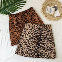 Load image into Gallery viewer, WILD BY HEART MINI SKIRT - LEOPARD