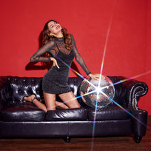 Load image into Gallery viewer, NIGHTS OUT SHINY MESH MINI DRESS